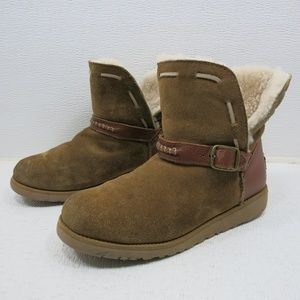UGG Suede Leather Strap Buckle Boots Australia 4